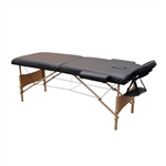 Cushioned Adjustable 2 Section Folding Portable Massage Table - 82 x 33.5 Inches - Black - ALEKO