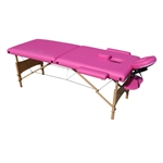 Cushioned Adjustable 2 Section Folding Portable Massage Table - 82 x 33.5 Inches - Pink - ALEKO