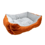 ALEKO® PB06OR 20 X 16 X 6 Inch (51 X 41 X 15 cm) Soft Plush Pet Cushion Crate Bed, Orange