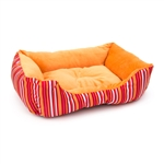 ALEKO® PB06STOR 20 X 16 X 6 Inch (51 X 41 X 15 cm) Soft Plush Pet Cushion Crate Bed, Orange Stripes