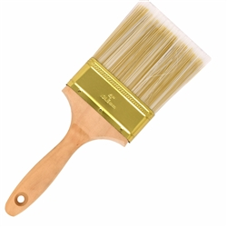 Flat-Cut Polyester Paint Brush with Wooden Handle - Gold-Plated Steel Ferrule - 4 Inches - ALEKO