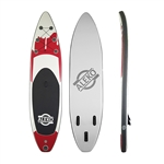 Inflatable Stand Up Wide Deck Paddle Board with Carry Bag and SUP Accessories - Youth and Adult - Red, White and Black - ALEKO