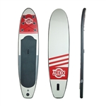 Inflatable Stand Up Wide Deck Paddle Board with Carry Bag and SUP Accessories - Youth and Adult - Red, White and Gray - ALEKO