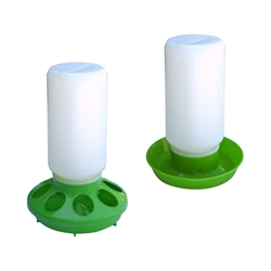 ALEKO® PDR001PFD002 Set of Water Drinker Container and Feeder Pan for Birds, Green and White