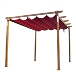 Aluminum Outdoor Retractable Pergola with Solar Powered LED Lamps and Wooden Finish  - 13 x 10 Ft - Burgundy - ALEKO