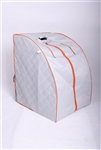 ALEKO PIN15SY Personal Folding Portable Home ETL Infrared Sauna with Folding Chair and Foot Pad, Silver with Orange Trim Color