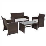 Wicker Rattan Furniture Set - 4 Piece - Brown with White Cushions - ALEKO