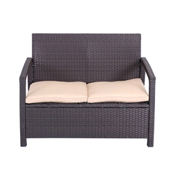 Tahitian Rattan Two Person Sofa - Brown with Cream Cushions - ALEKO