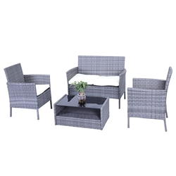 Hamptons Rattan Patio Furniture Coffee Table Set -  4 Piece - Grey Set with Cream Cushions - ALEKO