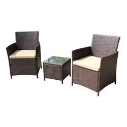 Rattan Wicker Furniture 3-Piece Indoor/Outdoor Coffee Table Set - Brown - ALEKO