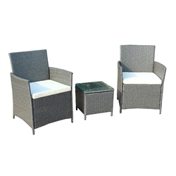 Rattan Wicker Furniture 3-Piece Indoor/Outdoor Table Set - Gray with White Cushions