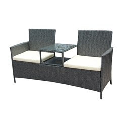 Rattan Wicker Indoor/Outdoor Dual-Seated Sofa with Coffee Table - Grey - ALEKO