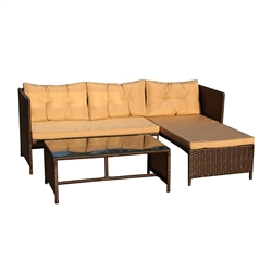 Rattan Wicker 3-Piece Indoor/Outdoor Sectional Furniture Lounge and Table Set - Brown - ALEKO