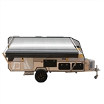 Retractable RV/Patio Awning - 13 x 8 Feet - Black Striped - ALEKO