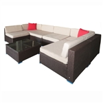 Sectional Wicker PE Rattan Furniture Sofa Set - 7-Piece - Brown with Beige Cushions - ALEKO