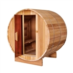 ALEKO SB6CEDAR 6 Person Outdoor and Indoor Rustic Western Red Cedar Wet Dry Barrel Sauna with ETL Electrical Heater