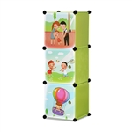ALEKO SCAB01GR Whimsical Children's 3 Level Collapsible Play Time Themed Multipurpose Storage Organizer Cubes in Green