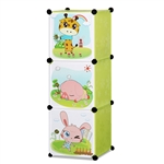 ALEKO SCAB02GR Whimsical Children's 3 Level Collapsible Multipurpose Animal Themed Storage Organizer Cubes in Green