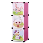 ALEKO SCAB02PK Whimsical Children's 3 Level Collapsible Multipurpose Animal Themed Storage Organizer Cubes in Pink