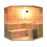 ALEKO® SEA5JIU 5-6 Person Canadian Hemlock Wood Indoor Wet Dry Sauna with 6 KW ETL Electrical Heater