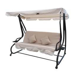 ALEKO Canopy Patio Swing Bench - Beige - Pillows and Cup Holders