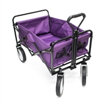 Multipurpose Folding Utility Wagon - Adjustable Retractable Handle - Purple with Black Frame - 150 Pounds - ALEKO