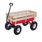ALEKO TC4201 Kids Wood and Steel Wagon All Terrain Pulling Play Cart Children Wagon Stroller, Red