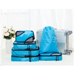 Travel Luggage Packing Pouches - 6 Piece - Blue - ALEKO