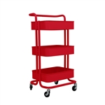 Lightweight Carbon Steel 3-Tier Rolling Utility Trolley Cart with Handle - Red - ALEKO