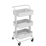 Lightweight Carbon Steel 3-Tier Rolling Utility Trolley Cart with Handle - White - ALEKO