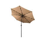 ALEKO UMB10L24TN 10 Ft (3 m) Solar  LED Lighted Tilting Patio Table Umbrella, Tan