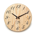 Sauna Handcrafted Sleek Analog Clock in Finnish Pine Wood - ALEKO