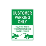 Aluminum Customer Parking Only Metal Sign With Tow Truck Graphic - ALEKO