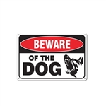 Aluminum Beware of Dog Sign with Dog Graphic - 7 x 10 Inches - ALEKO