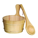 Pine Wood Sauna Bucket with Plastic Liner and Water Scoop